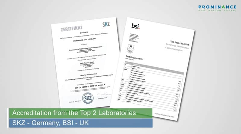 upvc windows accreditation reports from BSI & SKZ